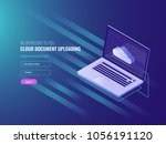 cloud document uploading... | Shutterstock .eps vector #1056191120