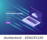 cloud document uploading... | Shutterstock .eps vector #1056191120