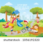 summer illustration with kids... | Shutterstock .eps vector #1056192320