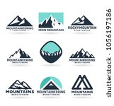 vector mountain logo design ... | Shutterstock .eps vector #1056197186