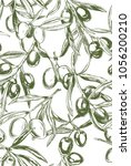 olive branches  hand drawn... | Shutterstock .eps vector #1056200210