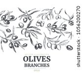 olive branches  hand drawn... | Shutterstock .eps vector #1056200270