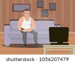 a man is sitting on the couch...   Shutterstock .eps vector #1056207479