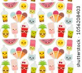hello summer bright tropical... | Shutterstock .eps vector #1056208403