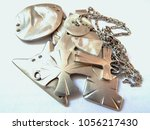 silver jewelry close up. silver ... | Shutterstock . vector #1056217430