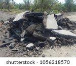 old cracked asphalt road scrap... | Shutterstock . vector #1056218570