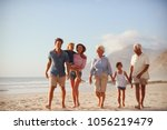multi generation family on... | Shutterstock . vector #1056219479