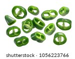 green chili pepper slices or... | Shutterstock . vector #1056223766