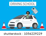 Stock vector happy cartoon african american female siting in white driving school car outdoor girl with driver 1056229229
