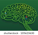 Stock vector man and woman into a brain shape maze psychological concept about man and woman relationship 105623630