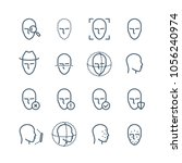 face recognition line icons....   Shutterstock .eps vector #1056240974