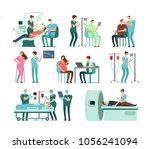 medical doctors and patients in ... | Shutterstock .eps vector #1056241094