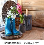 Sprig of flowering cherry in a dark blue rubber knee-boot and pink hyacinth on the window of balcony. Infatuation for gardening on a balcony - stock photo