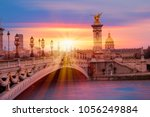 alexandre iii bridge  paris... | Shutterstock . vector #1056249884