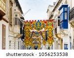 typical street view of valletta ...   Shutterstock . vector #1056253538