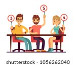jury judges holding scorecards. ... | Shutterstock .eps vector #1056262040