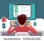 man at computer filling online... | Shutterstock .eps vector #1056262100