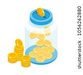 saving coins in jar concept... | Shutterstock .eps vector #1056262880