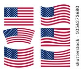 us flag collection on white... | Shutterstock . vector #1056273680