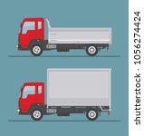 tipper truck and delivery truck ... | Shutterstock .eps vector #1056274424