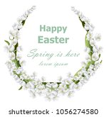 happy easter card with lily of... | Shutterstock .eps vector #1056274580