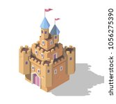 isometric cartoon castle. game... | Shutterstock .eps vector #1056275390
