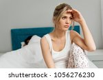 young couple on the bed ...   Shutterstock . vector #1056276230