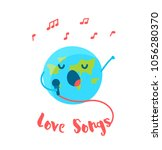 cute earth with microphone... | Shutterstock .eps vector #1056280370
