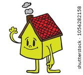 waving cartoon house... | Shutterstock .eps vector #1056282158