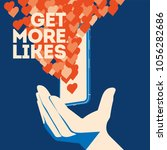get more likes poster. hand... | Shutterstock .eps vector #1056282686