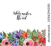 watercolor floral background....   Shutterstock . vector #1056294350