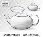 Empty Glass Teapot Set On...