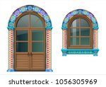 arched wooden doors and window... | Shutterstock .eps vector #1056305969