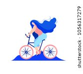 flat girl riding a bicycle.... | Shutterstock .eps vector #1056317279