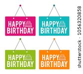 happy birthday with icon... | Shutterstock .eps vector #1056320858