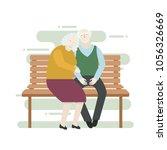 elderly couple sitting n the... | Shutterstock .eps vector #1056326669