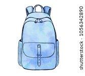 sketch of a rucksack. backpack... | Shutterstock .eps vector #1056342890
