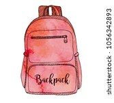 sketch of a rucksack. backpack... | Shutterstock .eps vector #1056342893