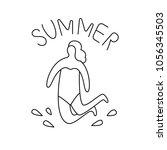 line art summer beach logo.... | Shutterstock .eps vector #1056345503