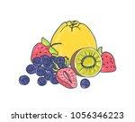 tasty juicy fruits and berries... | Shutterstock .eps vector #1056346223