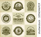 vintage organic labels and... | Shutterstock . vector #1056346919