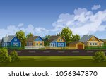 russian village summer... | Shutterstock .eps vector #1056347870