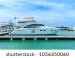 a luxury yacht docked in the... | Shutterstock . vector #1056350060