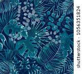 seamless pattern of green... | Shutterstock .eps vector #1056351824