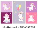 cute unicorn baby card vector... | Shutterstock .eps vector #1056351968