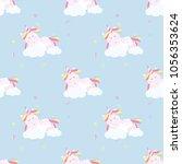 cute unicorn pattern magic baby ... | Shutterstock .eps vector #1056353624