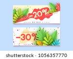horizontal sale banner border.... | Shutterstock .eps vector #1056357770
