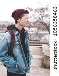 funny teen boy 14 16 year old... | Shutterstock . vector #1056358463