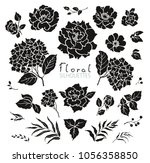 floral collection of... | Shutterstock .eps vector #1056358850