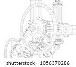 wire frame industrial equipment.... | Shutterstock . vector #1056370286